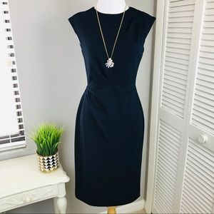 Betsey Johnson Navy Blue Ruched Career Dress
